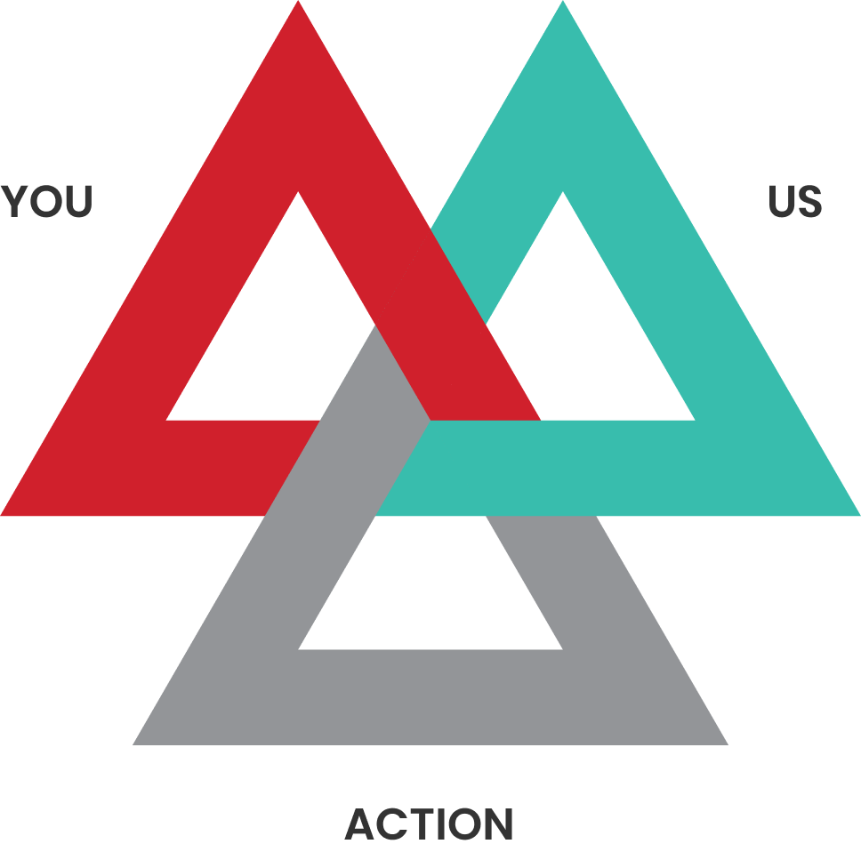You Us Action Red, Green, Grey Triangles Conjoined